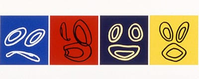 "Laughing Heart IV, 1988 Silk Screen 4.5"" X 18"" (11.5 X 46 Cm)"