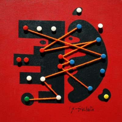 Non-Titled, 2006 Thumbtack, Woolen Yarn And Acrylic On Canvas, 12″ X 12″  (30.5 X 30.5 Cm)